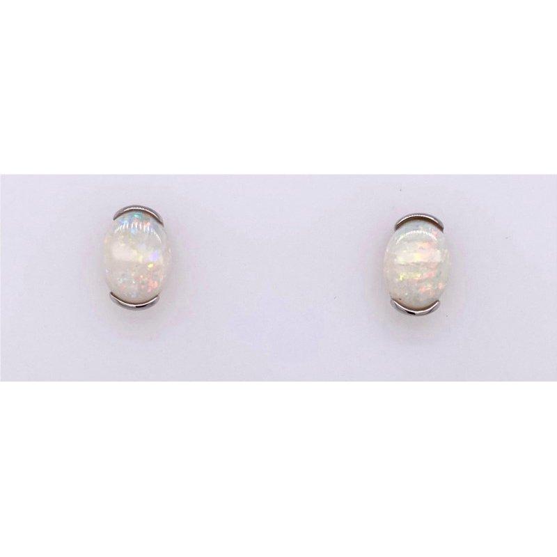 Serene Opal Earrings in White Gold