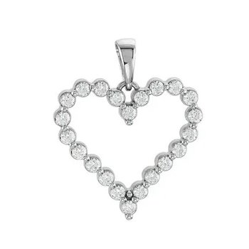 "Classic 14 Karat Heart Pendant With Diamonds on an 18"" Cable Chain"
