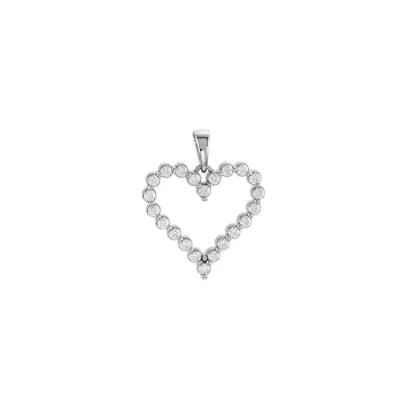 """Classic 14 Karat Heart Pendant With Diamonds on an 18"""" Cable Chain"""