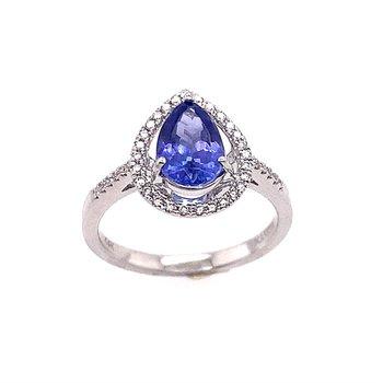 Pear Shape Tanzanite Ring With Diamond Halo