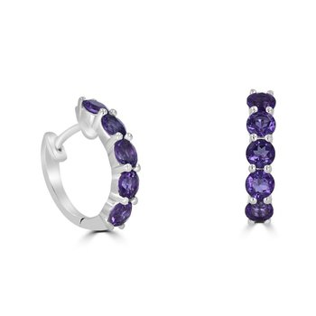 Amethyst set in White Gold Hinged Hoops