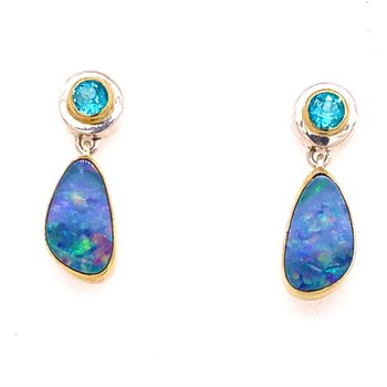 Opal and Paraiba Topaz Drop Earrings in Sterling Silver and 22 Karat Vermeil