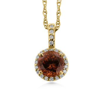 14 Karat Warm Brown Zircon and Diamond Pendant