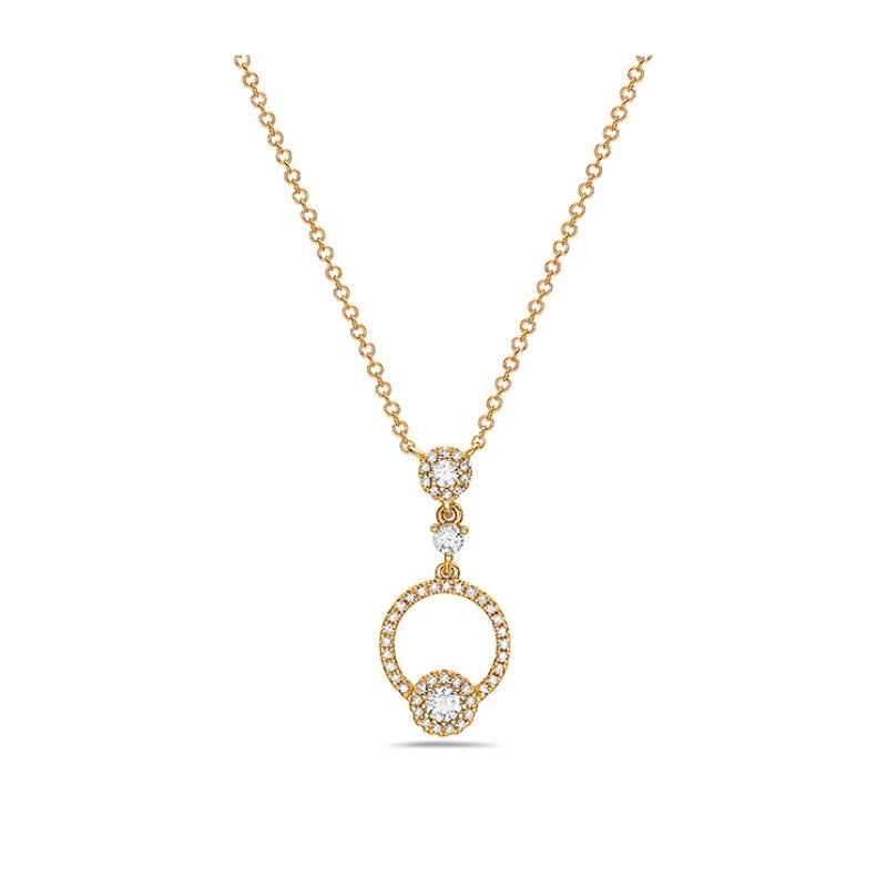 Graceful Diamond Circle Pendant on an Adjustable Length Chain
