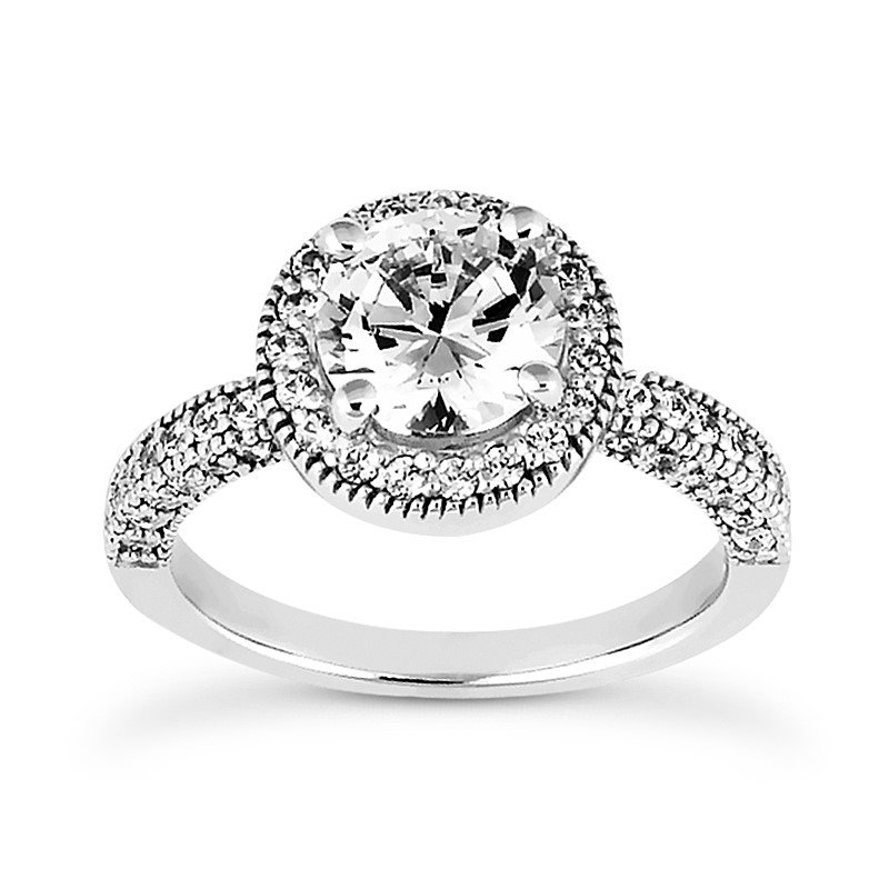Engagement ring with halo Mounting for Round Center