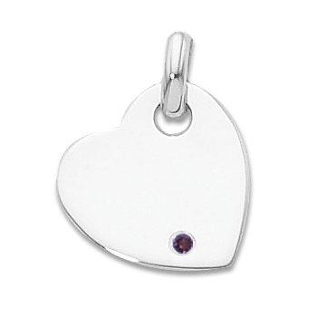 Sterling Silver Heart Charm With Imitation Amethyst