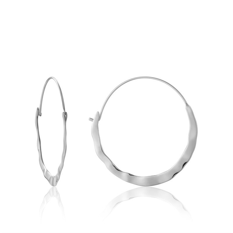 Yellow Sterling Silver Metal Crush Hoops Earrings