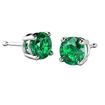 Grass Green Emerald Stud Earrings