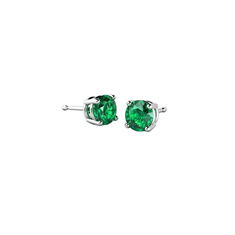 Grass Green Emerald Stud Earrings
