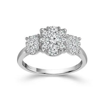 Three Stone Diamond Pave Ring