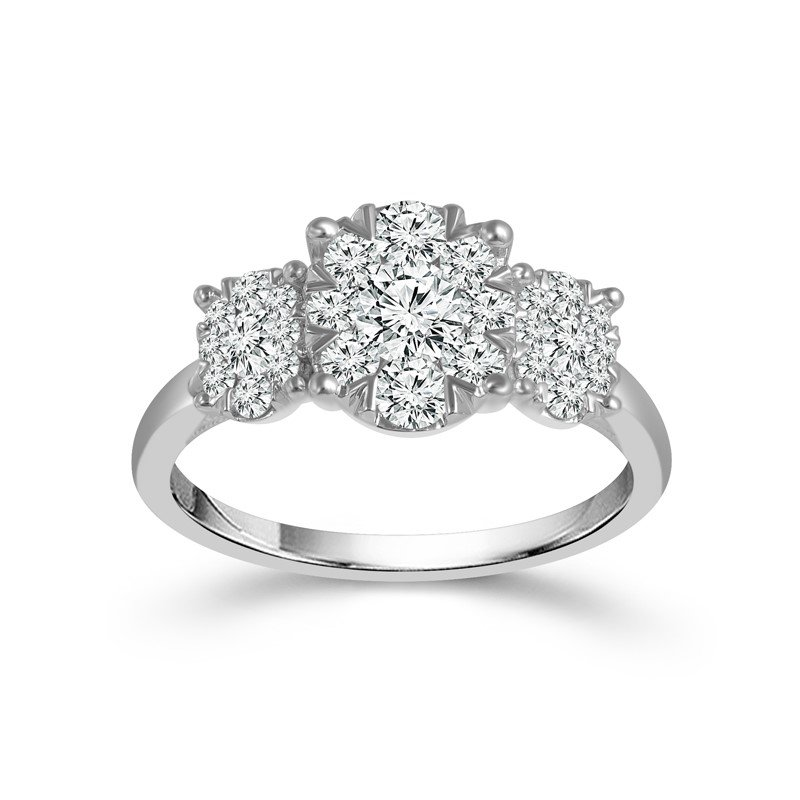Three Stone Diamond Pave Ring