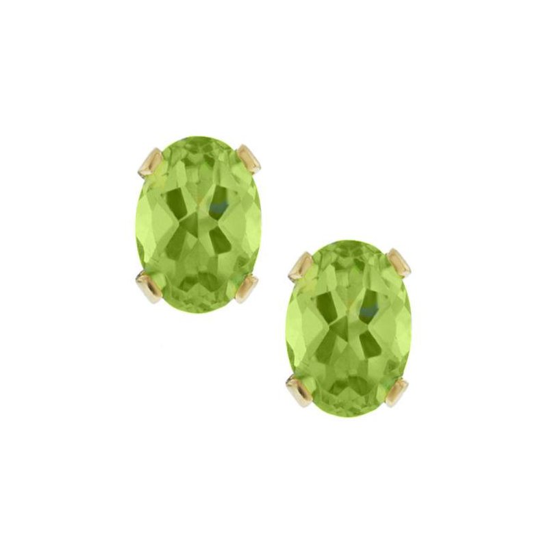 Classic Oval Peridot Stud Earrings