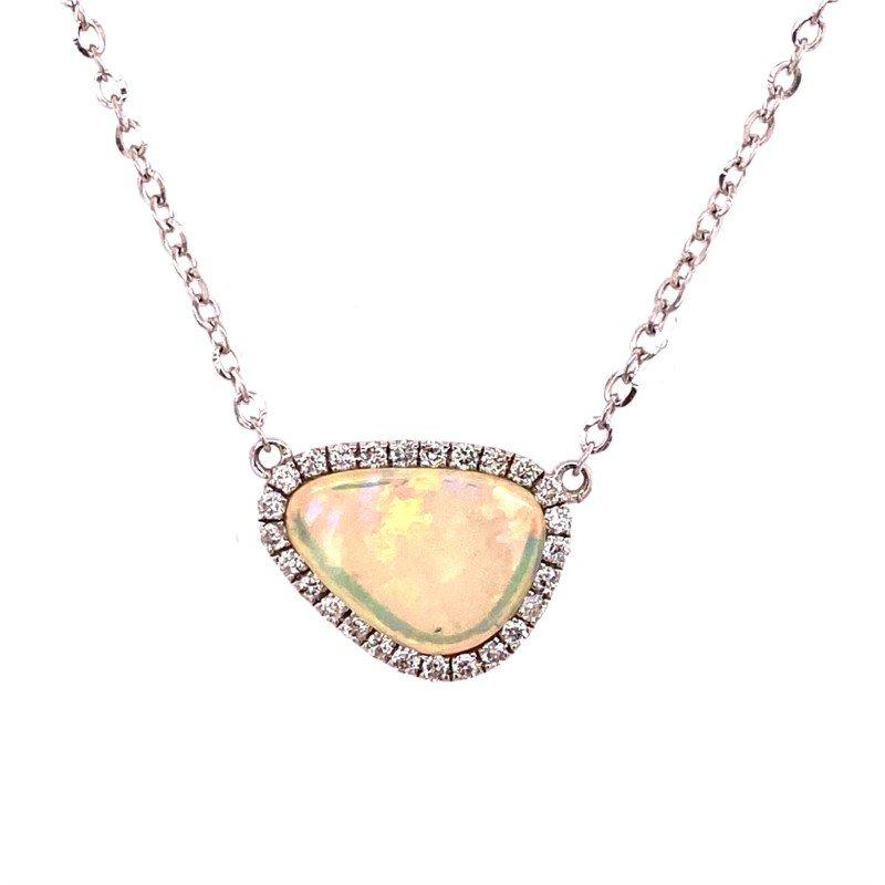 14 Karat Free Form Opal and Diamond Pendant