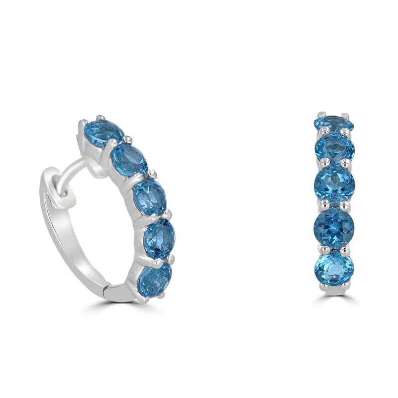 Blue Topaz Hinged Hoop Earrings
