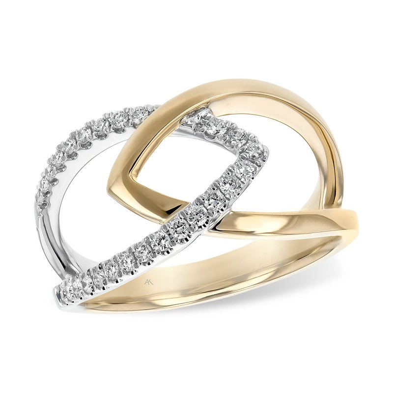 14kt White and Yellow Gold Free Form Ring with Diamonds
