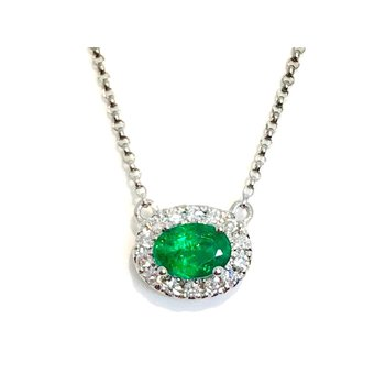 14 kt Gold Pendant with Spring Green Emerald and Diamonds