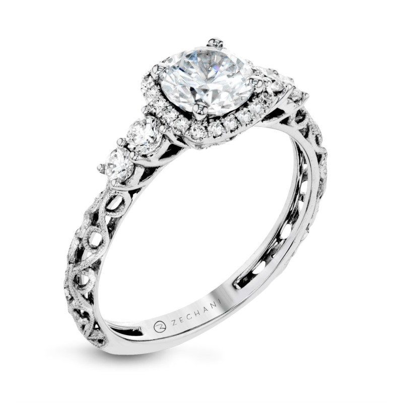 Delicate Openwork Scroll and Diamond Ring