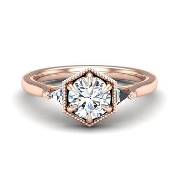 14 Karat Vintage Inspired Ring Mounting with Trillon Diamonds