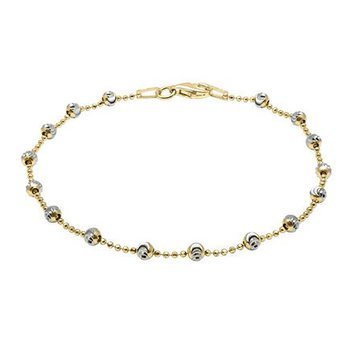 Yellow Sterling Silver Diamond Cut Bead Bracelet