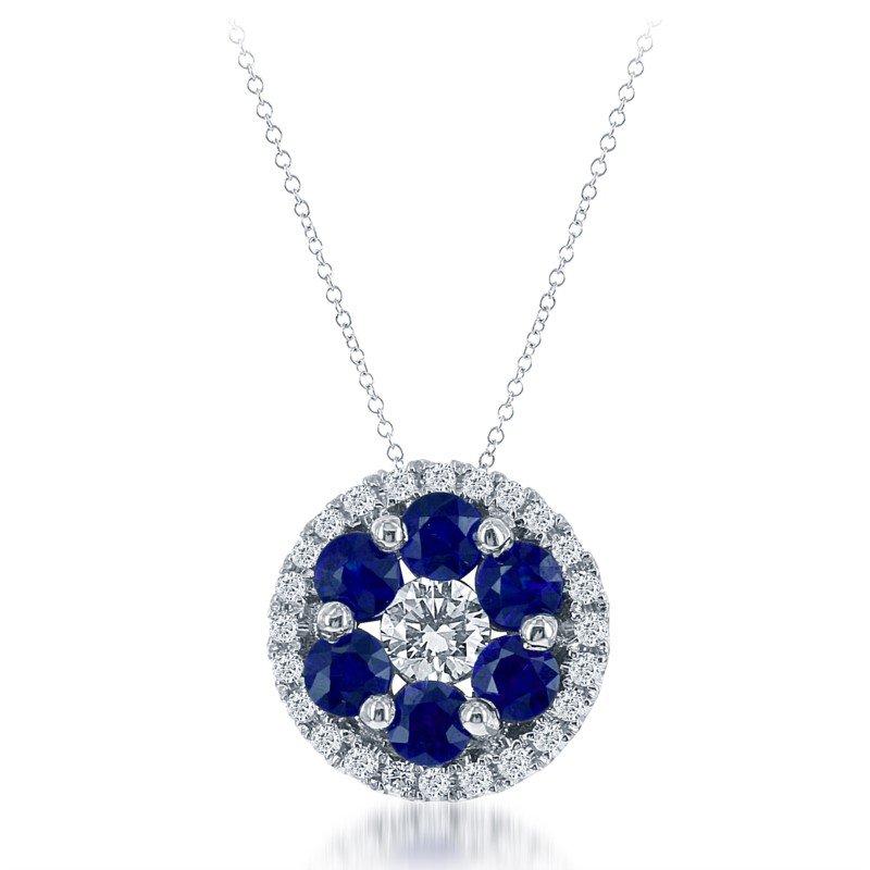 White 14 Karat Round Pendant With Sapphires and Diamonds