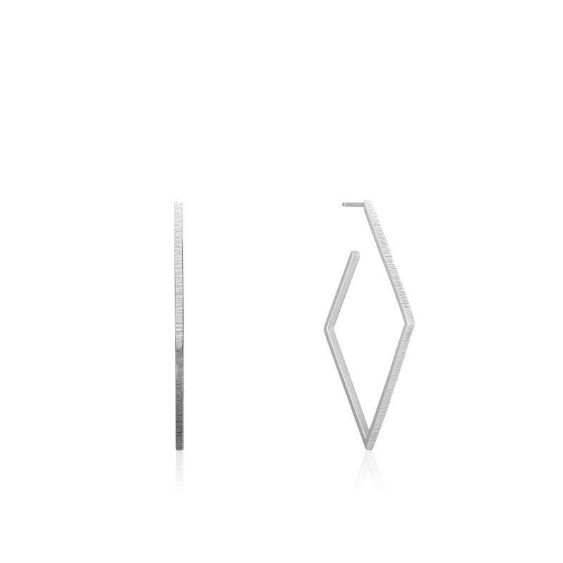 Sterling Silver Texture Diamond Hoop Earrings