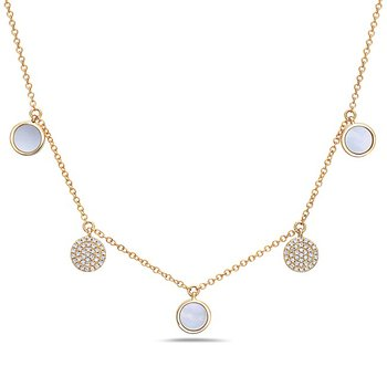14 Karat Yellow Gold 5 Disc Necklace with Mother of Pearl and Pave Set Diamonds