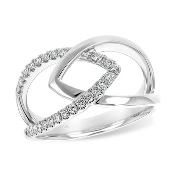 14kt White Gold Geometric Interlocking Chevron Ring with Diamonds