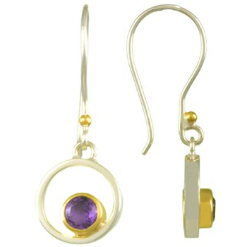 Amethyst Bezel Set Drop Earrings