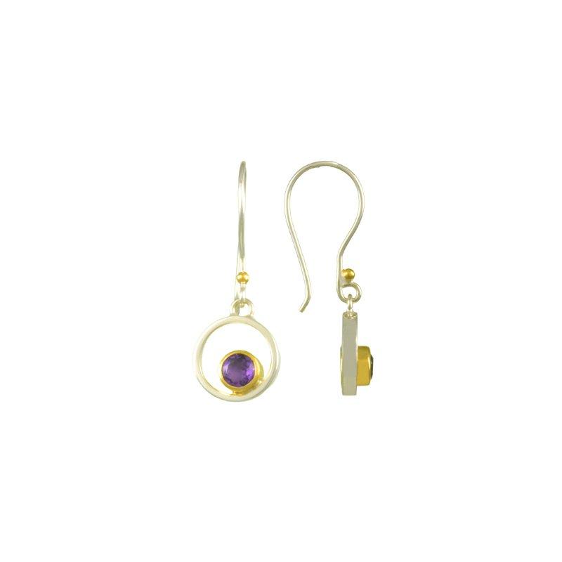 Amethyst Bezel Set Drop Earrings