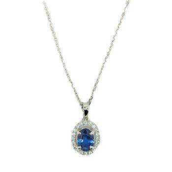 14 Karat Sapphire and Diamond Petite Pendant