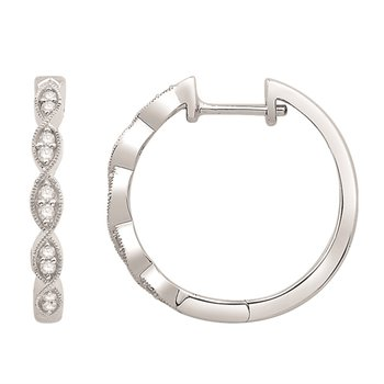 Diamond Set Twisting Millgrain Detail Hinged Hoop Earrings