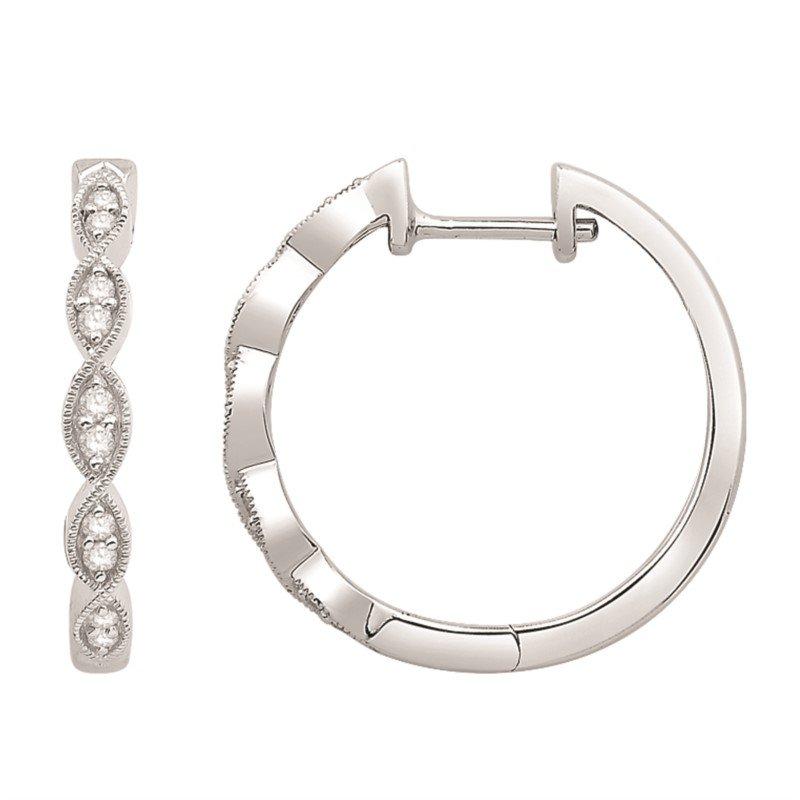Diamond Set Twisting Millgrain Detail Hinged Hoop Earrings