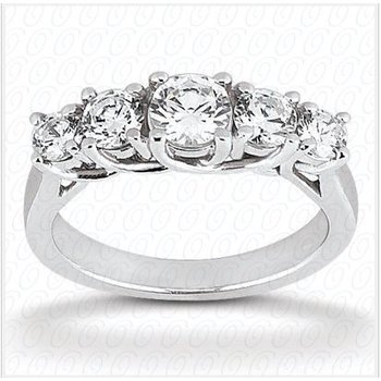 14kt White Gold 5-Diamond Trellis  Wedding Band