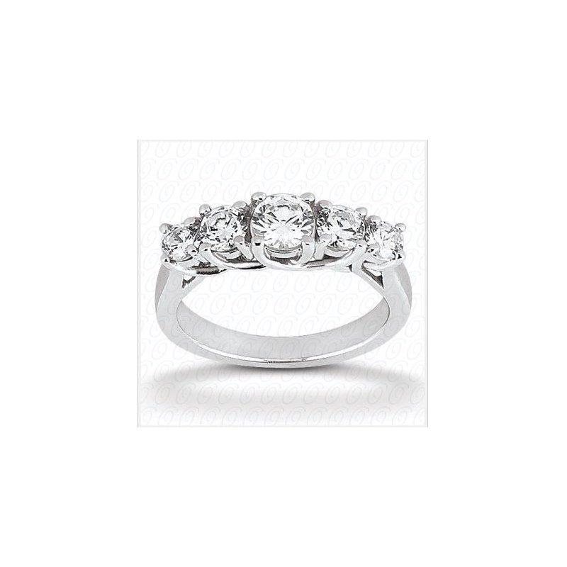 14kt White Gold 5-Diamond Trellis  Wedding Band