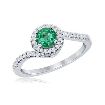 14 Karat White Gold Emerald and Diamond Bypass Ring