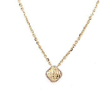 Diamond Cut 14 Karat Square Station Pendant, 18""