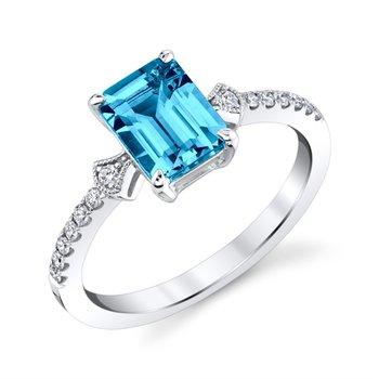 Stunning Blue Topaz and Diamond Ring
