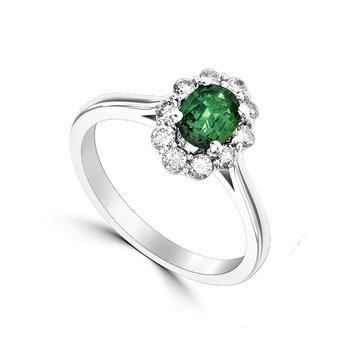 White Gold Ring with Emerald and Diamonds