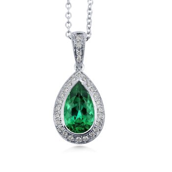 18 Karat Classic Design Intense Tourmaline and Diamond Pendant