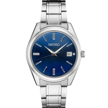 Stainless Steel White and Blue Seiko Quartz Watch
