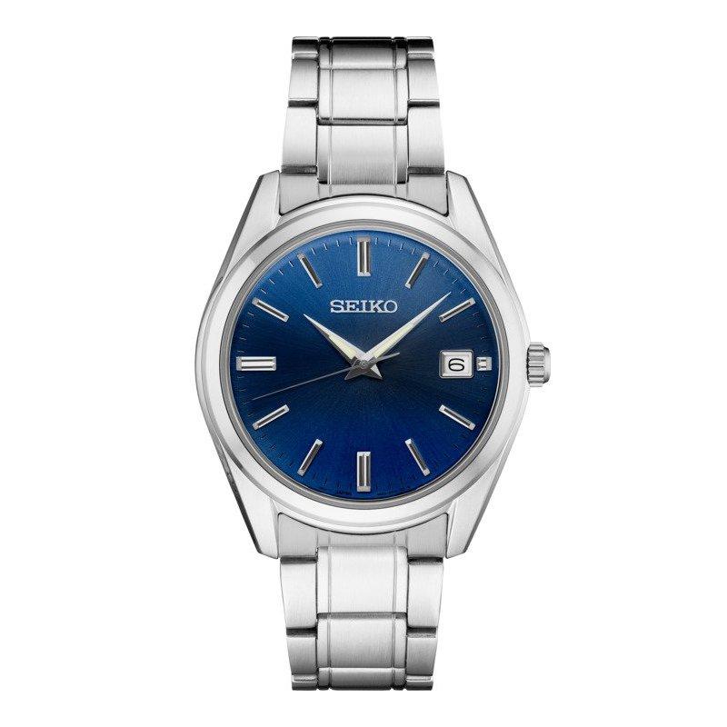 Stainless Steel White and Blue Seiko Quartz Watch