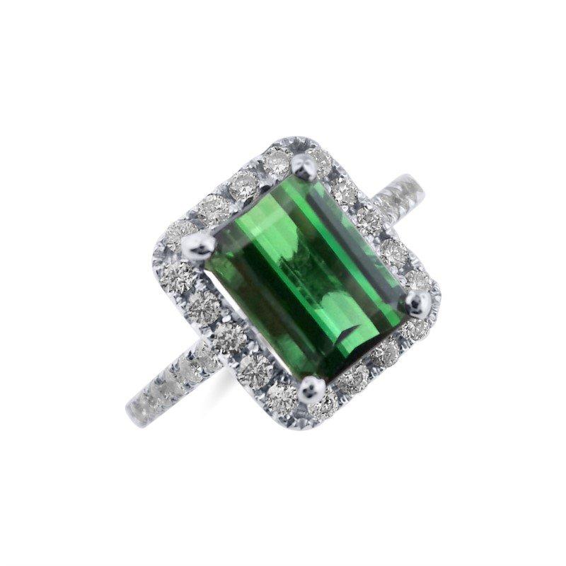 White Gold Diamond and Tourmaline Ring