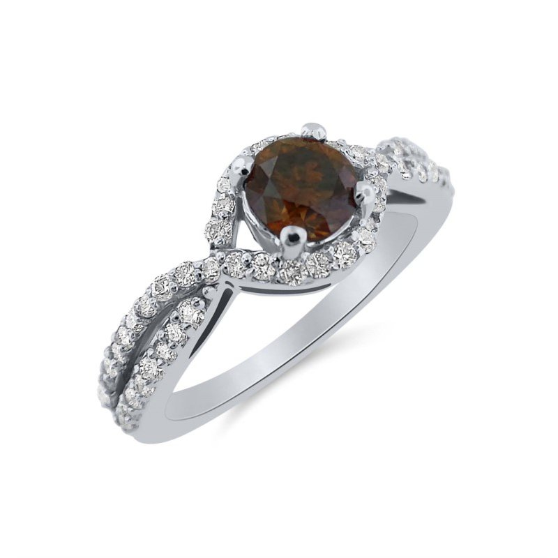 Compelling Natural  Brown Diamond and white diamond Ring