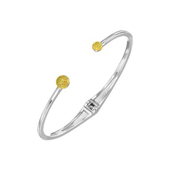 Sterling Silver and Yellow Bangle Bracelet With Yellow Diamonds