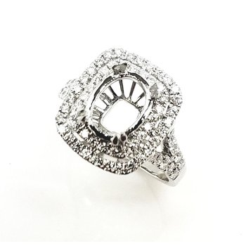Double Row Cushion shaped Halo Ring Diamond Set