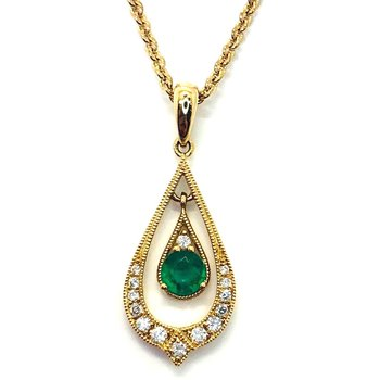 14 kt Gold Fancy Emerald and Diamond Pendant