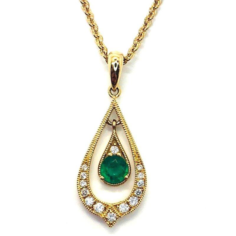 14 kt Gold Fancy Emerald and Diamond Pendant