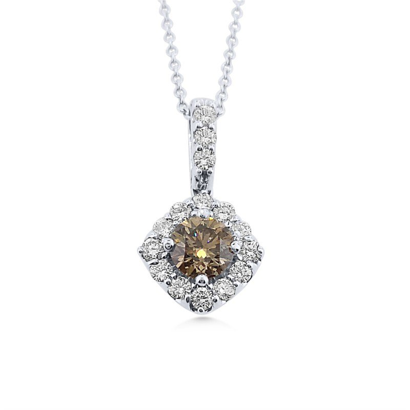 Natural Fancy Color Brown Diamond Surrounded by White Diamonds Pendant