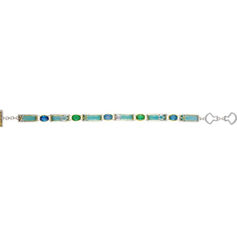 Sterling Silver Bracelet with AmazoniteBaby Blue Topaz, Quartz,Sky Blue Topaz