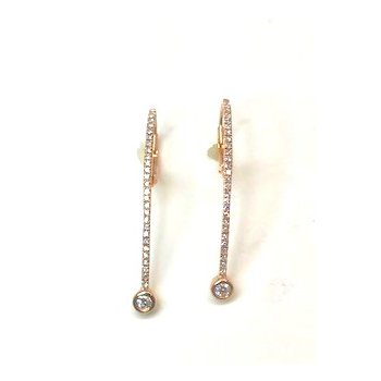 Rosé 14 Karat Drop Earrings With Diamonds